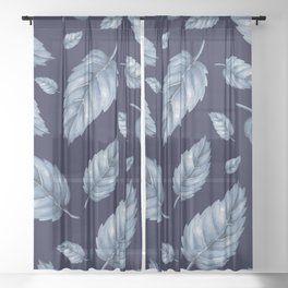 BLUE LEAVES Sheer Curtain