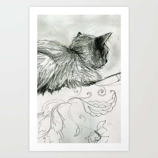 Fluffers on the Sofa Art Print