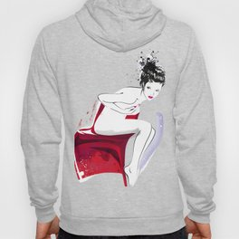 Naked Beauty, Nude Body, Fashion Painting, Fashion IIlustration, Vogue Portrait, Red colour, #14 Hoody