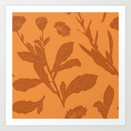 Block Print Marigold Floral in Orange Art Print