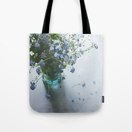 Forget-me-not bouquet in Blue jar Tote Bag