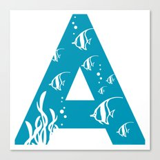 A is for Angelfish - Animal Alphabet Series Canvas Print