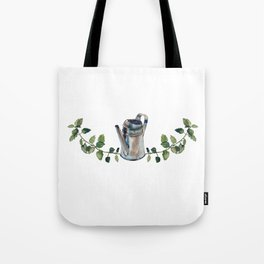 Metallic watering can and lemon balm twigs and leaves symmetrical ornament, isolated on white. Tote Bag