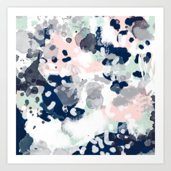 Melia - abstract minimal painting acrylic watercolor nursery mint navy pink Kunstdrucke