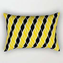 Golden Yellow and Black Stripes Rectangular Pillow