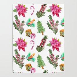 Christmas Pattern with Australian Native Bottlebrush Flowers Poster