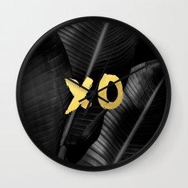 XO gold - bw banana leaf Wall Clock