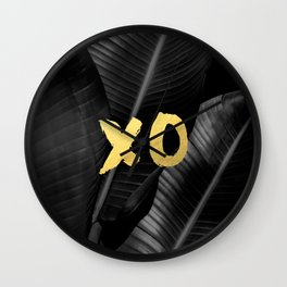 XO gold - bw banana leaf Wall Clock