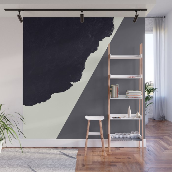 Contemporary Minimalistic Black and White Art Wall Mural by