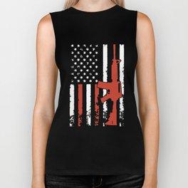 demeletion american flag gun t-shirts Biker Tank