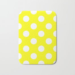 Large Polka Dots - White on Yellow Bath Mat