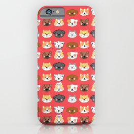 Nine Cute Dogs in Red iPhone Case