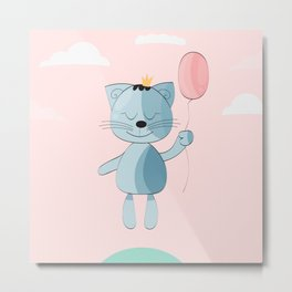 Cute  little Cat with balloon Metal Print