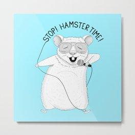 Hamster singing MC Hammer   Animal Karaoke   Blue Metal Print