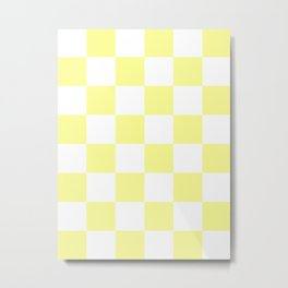 Large Checkered - White and Pastel Yellow Metal Print