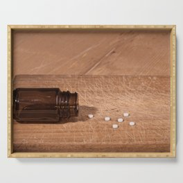 Pills and bottle concept Serving Tray