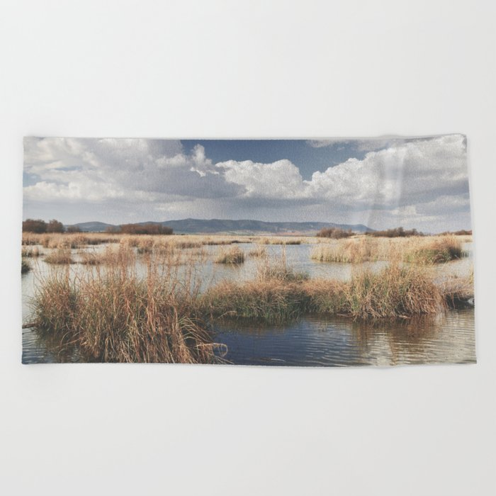 """""""Waiting for the storm"""" At the lake... Beach Towel"""