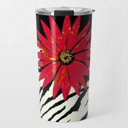 Animal Print Zebra Black and White and Red flower Medallion Travel Mug