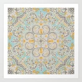 Gypsy Floral in Soft Neutrals, Grey & Yellow on Sage Art Print