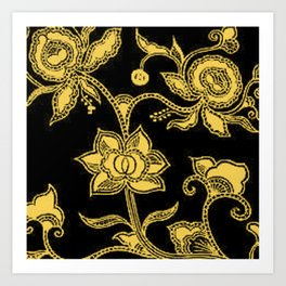 Vintage Floral Primrose Yellow and Black Art Print
