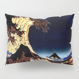 The GREAT Wave Midnight Blue Brown Pillow Sham