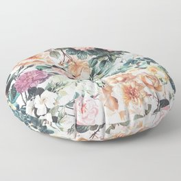 Vintage green pink yellow watercolor roses floral Floor Pillow