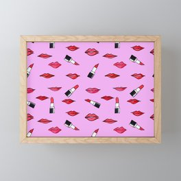 Lips and lispticks pattern in pinkish background Framed Mini Art Print