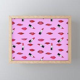 Lips and lispticks pattern in pinkish background Framed Mini Art Print