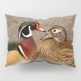 A Touching Moment Between Wood Duck Lovebirds Pillow Sham