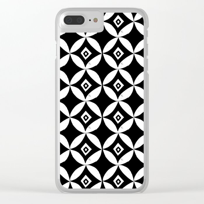 Linocut minimal scandinavian stars circles geometric black and white pattern Clear iPhone Case