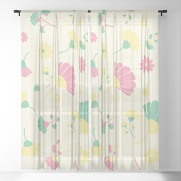 Green, yellow and pink flowers Sheer Curtain