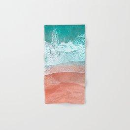 The Break - Turquoise Sea Pastel Pink Beach II Hand & Bath Towel
