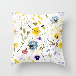 Dried And Pressed Wildflowers Midsummer Meadow I Throw Pillow