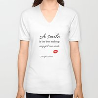 marylin monroe V-neck T-shirts featuring Marylin monroe Quote typography  by Home Art & Beyond
