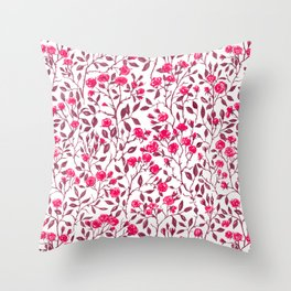 Red rose bush Throw Pillow