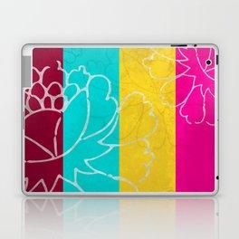 Chinese Flowers & Stripes - Pink Yellow Cyan Red Laptop & iPad Skin