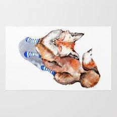Smiling Red Fox in Blue Socks Rug