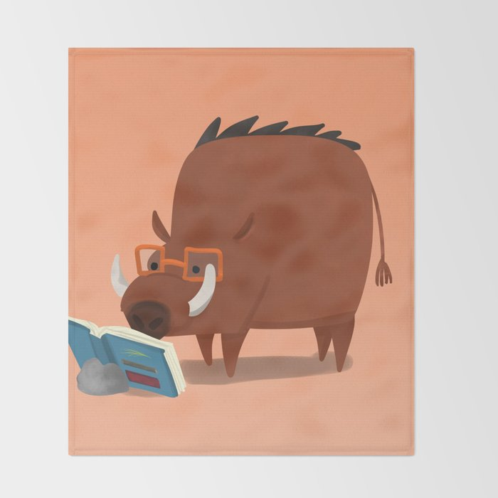 Warthog and his Good Book Throw Blanket