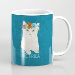 Be like Frida! White cat in flower crown on blue Coffee Mug