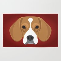 beagle Area & Throw Rugs featuring Beagle by Three Black Dots