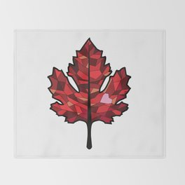 A Maple Leaf with Heart Throw Blanket