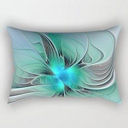 Abstract With Blue 2, Fractal Art Rectangular Pillow