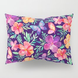Summer Blooms & Butterflies on Dark Purple Pillow Sham
