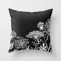 alisa burke Throw Pillows featuring queen anne's lace by Alisa Burke