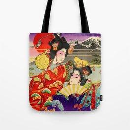 Geishas with Mt. Fuji Tote Bag