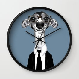 Greyhound in suit Wall Clock