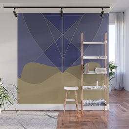 Indigo and Taupe Abstract Wall Mural