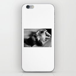 Nude woman laying on the floor and image in Black and White iPhone Skin