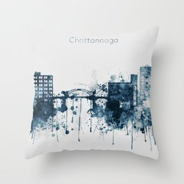 Blue Chattanooga skyline design Throw Pillow