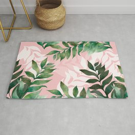 Dreamy Leaves in Pink and Green Rug